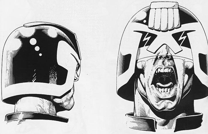 Judge Dredd emoting and yelling