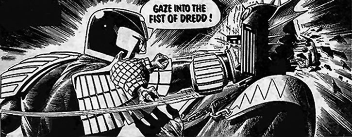 Judge Dredd punches Judge Fear in the face