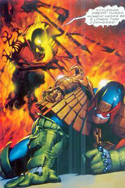 Judge Fire (Judge Dredd enemy) (2000AD Comics) attempting to skewer Dredd