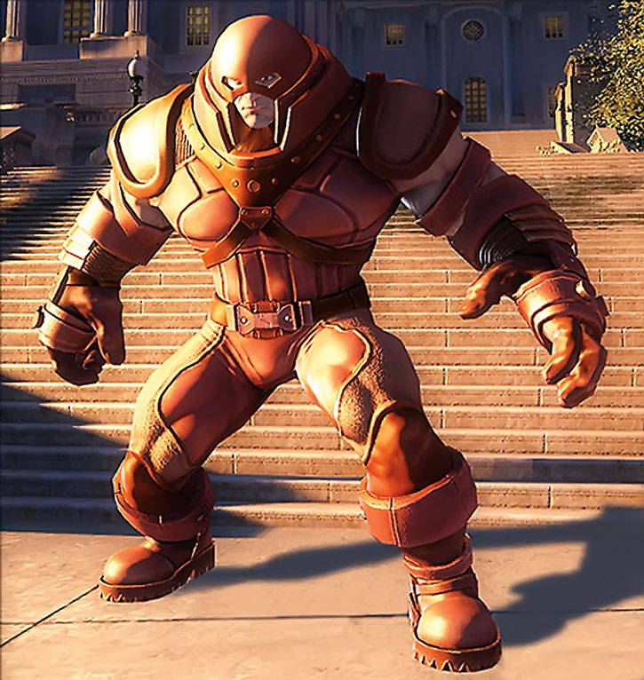 Juggernaut (Cain Marko) in front of steps in a video game