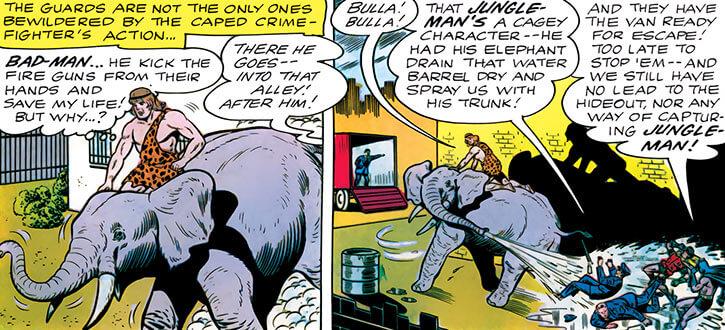 Jungle-Man (Batman character) (DC Comics) and his elephant vs cops