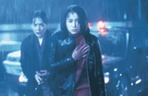 Junko Aoki (Miyuki Mizabe in Firestarter aka Pyrokinesis) under pouring rain