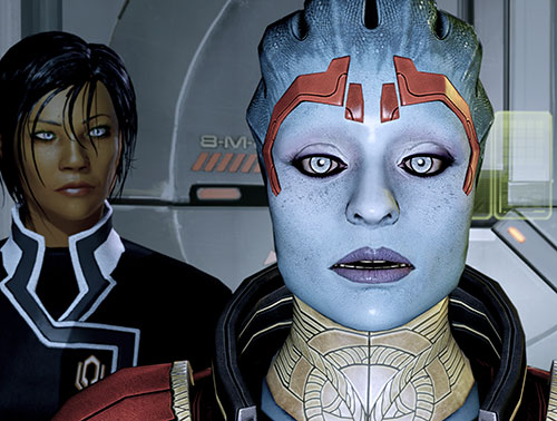 Justicar Samara (Mass Effect) face closeup with Commander Shepard