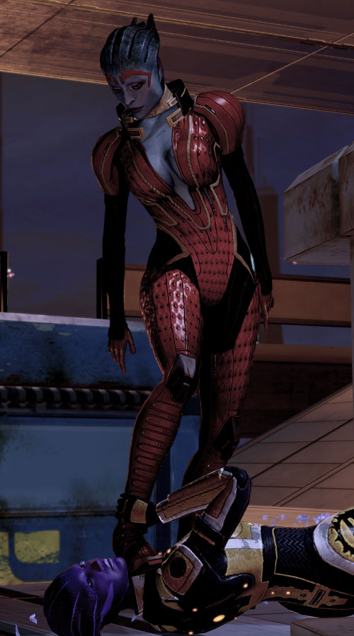 Justicar Samara (Mass Effect) with her boot on the throat of an Asari mercenary
