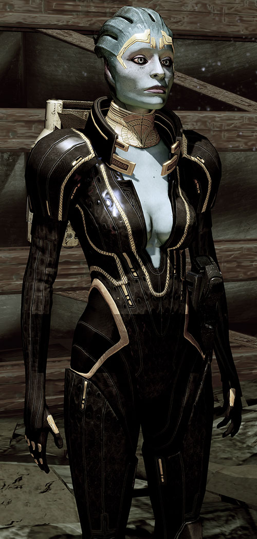 Justicar Samara (Mass Effect) in black next to wooden beams