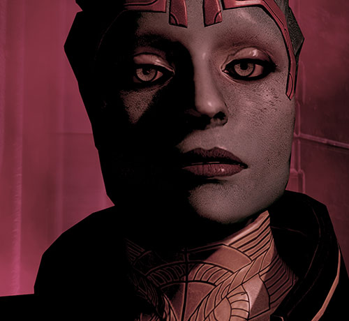 Justicar Samara (Mass Effect) face closeup in red lighting