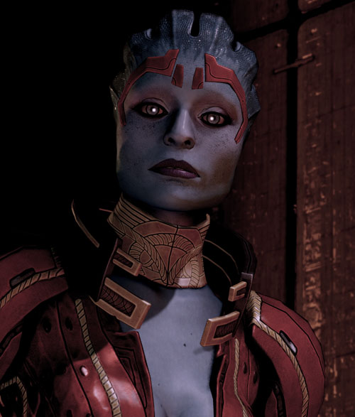 Justicar Samara (Mass Effect) in shadows reflective eyes