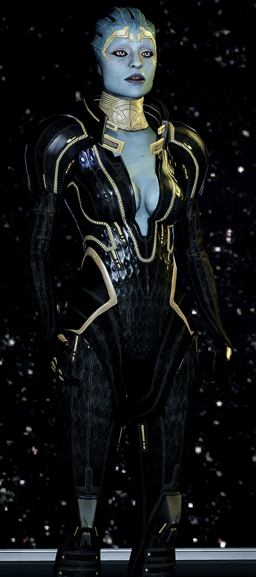 Justicar Samara (Mass Effect) in black with a star field