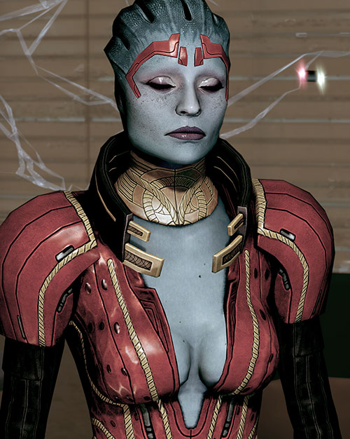 Justicar Samara (Mass Effect) with eyes closed