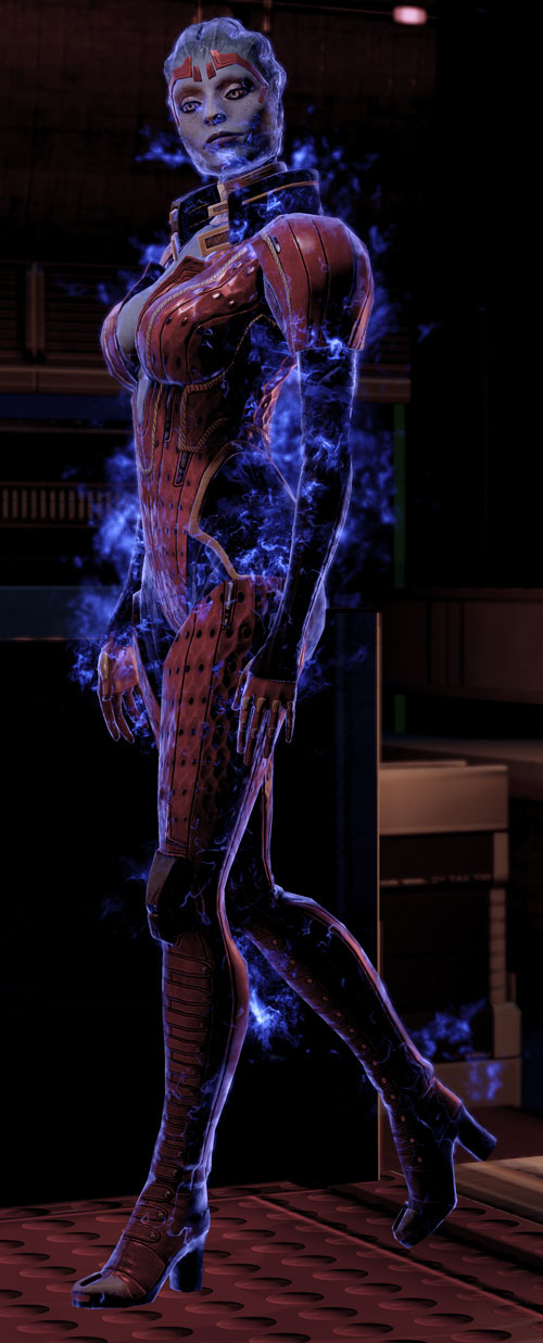 Justicar Samara (Mass Effect) walking shrouded in dark energy