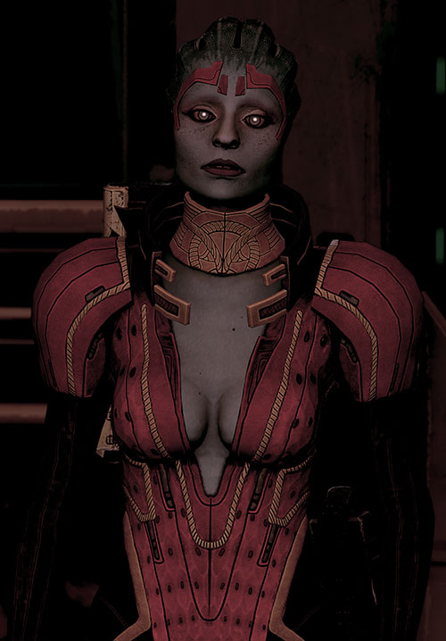 Justicar Samara (Mass Effect) in the dark with shiny eyes