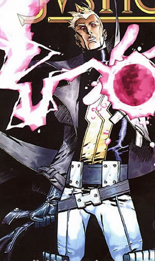 Justice (John Tensen) (Marvel Comics New Universe) with his left hand glowing