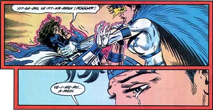 Justice - Marvel Comics - New Warriors- Avengers - Vance Astrovik - Sabra, reciting the kaddish