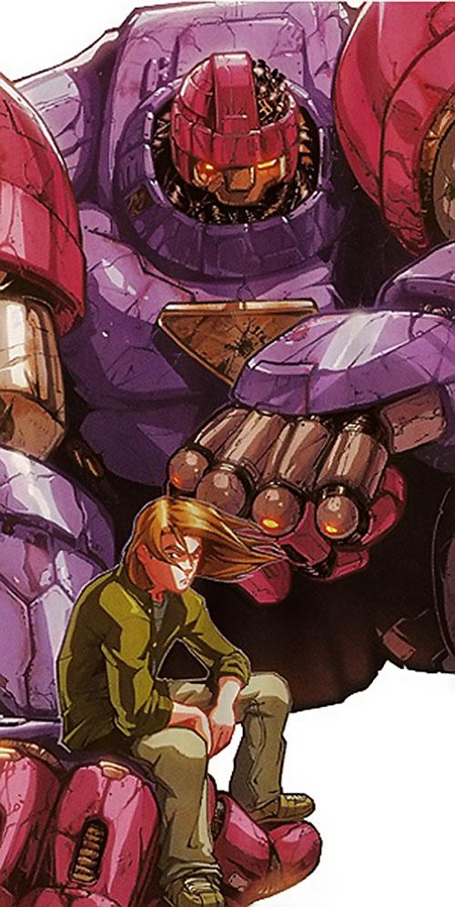 Juston Seyfert (Marvel Comics) sitting in the hand of his damaged Sentinel robot