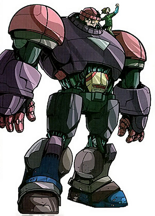 Juston Seyfert (Marvel Comics) riding on the shoulder of his Sentinel robot