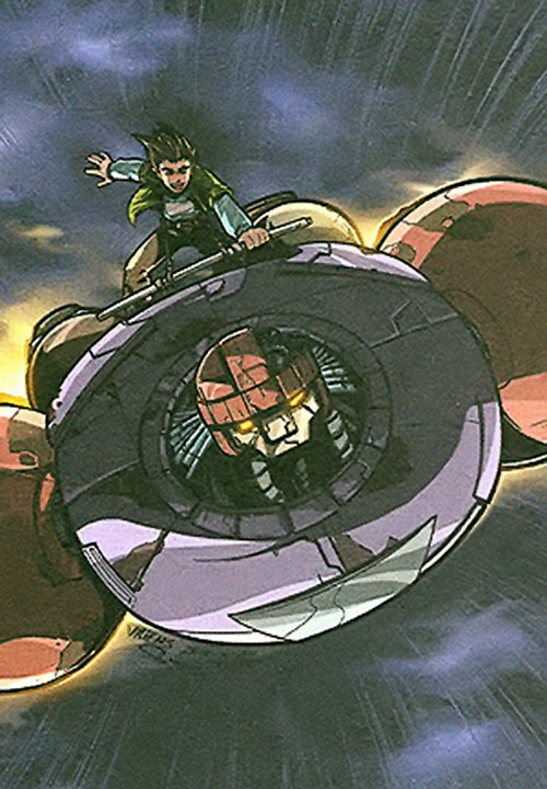 Juston Seyfert (Marvel Comics) atop his flying Sentinel