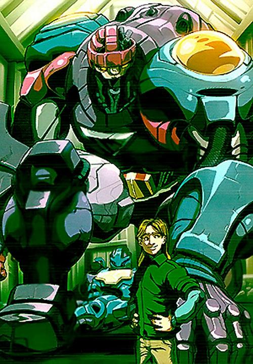 Juston Seyfert (Marvel Comics) and his repaired Sentinel