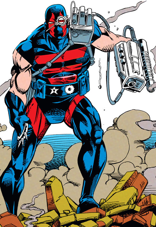 KGBeast in Robin Comics (DC Comics) striding over rubble with smoking gun