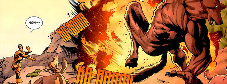 Kaboomerang hitting a werewolf