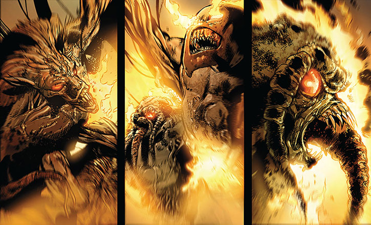 Giant creatures of Kaga, burning