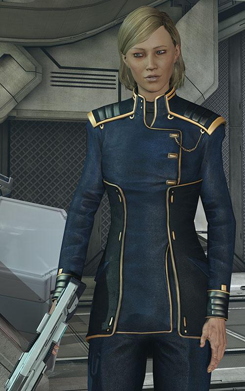 Kahlee Sanders (Mass Effect) holding a shotgun