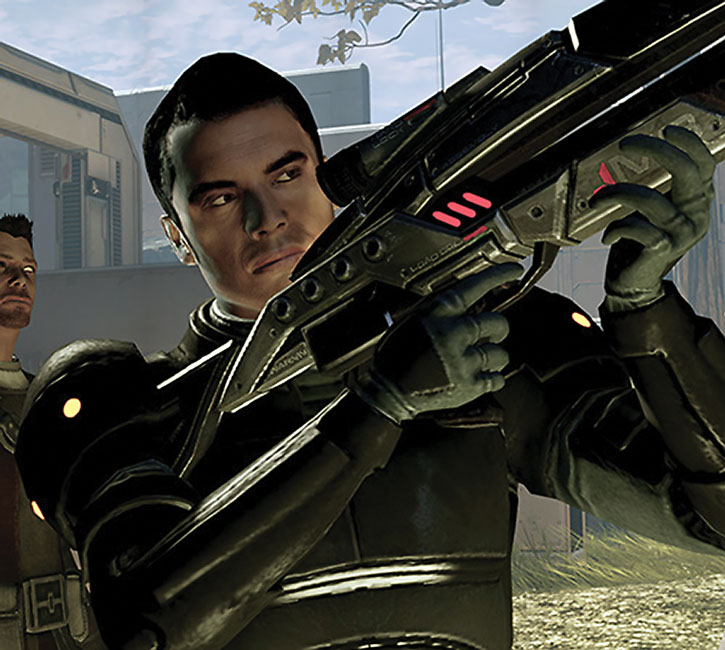 Kaidan Alenko aiming an assault rifle on Horizon