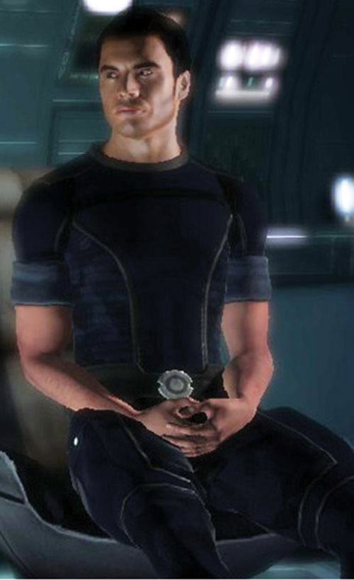 Kaidan Alenko in Mass Effect blue flight uniform sitting