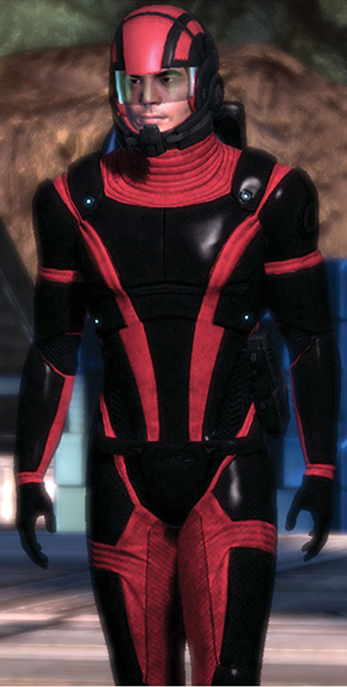 Kaidan Alenko in Mass Effect Colossus armor open helmet