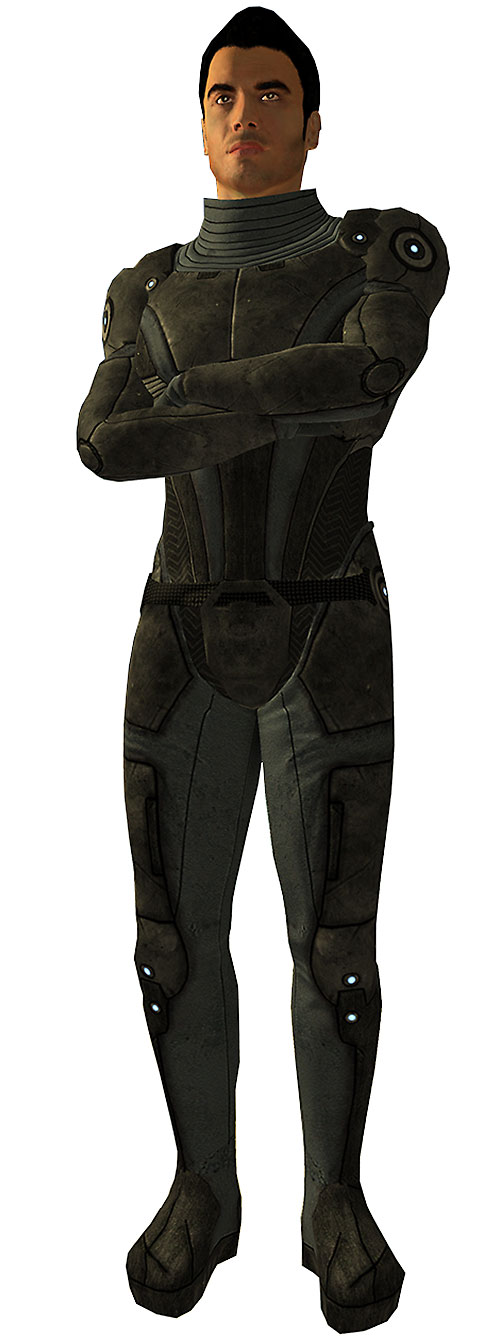 Kaidan Alenko in Mass Effect gray body armor crossed arms white background
