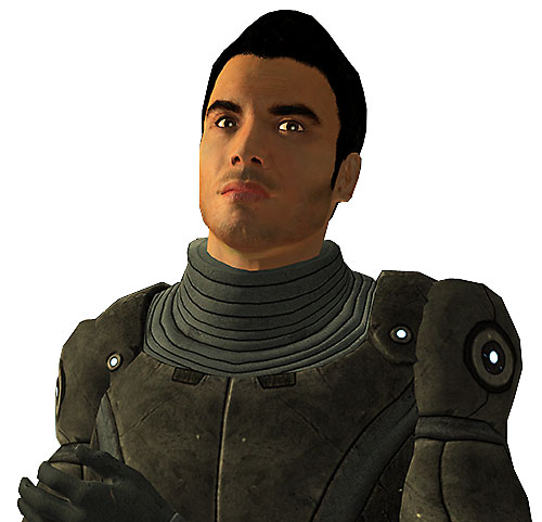 Kaidan Alenko in Mass Effect portrait in gray armor