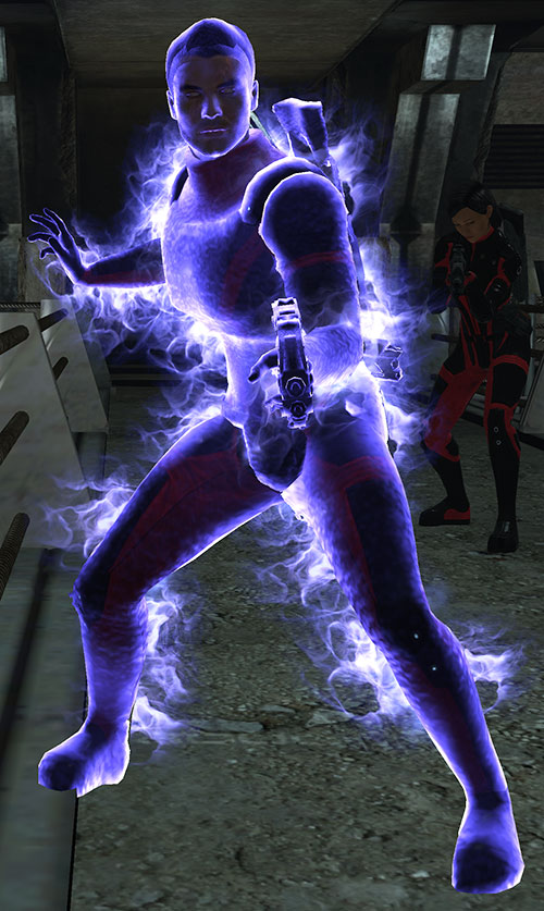 Kaidan Alenko in Mass Effect in Colossus armor, biotic warp