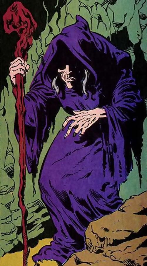 Queen Kala (Marvel Comics Subterranea) - hunched crone in hooded dress