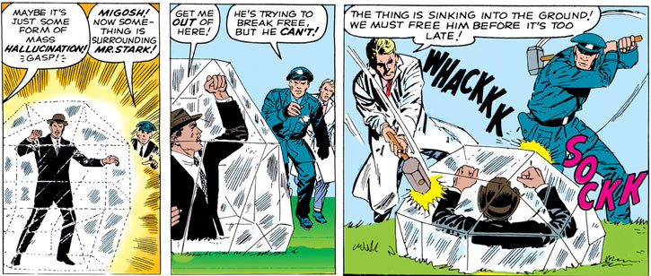 Queen Kala (Marvel Comics Subterranea) - Tony Stark captured by a diamond of doom
