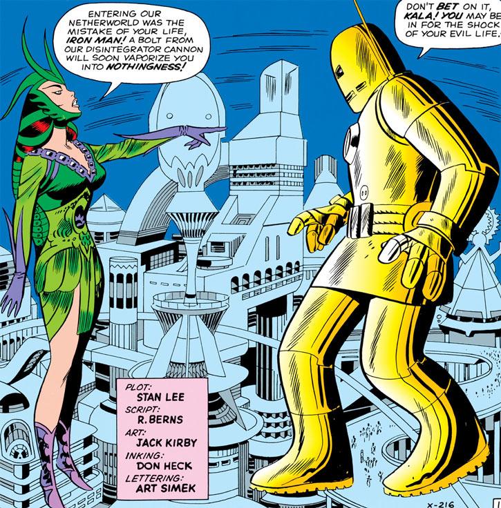 Queen Kala (Marvel Comics Subterranea) and an early Iron Man