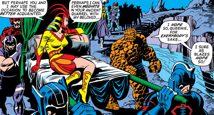 Queen Kala (Marvel Comics Subterranea) - with the Thing and an entourage - sedan chair