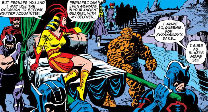 Queen Kala (Marvel Comics Subterranea) - with the Thing and an entourage - sedan chair