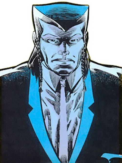 Kam (Butcher enemy) (DC Comics) in blue lighting