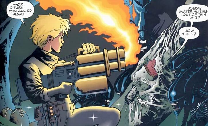 Kara (Superman vs. Aliens comics) with heavy flamer