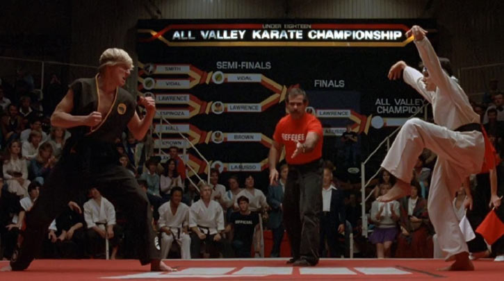 Karate Kid Daniel LaRusso - 1980s movies - Ralph Macchio - crane kick stance