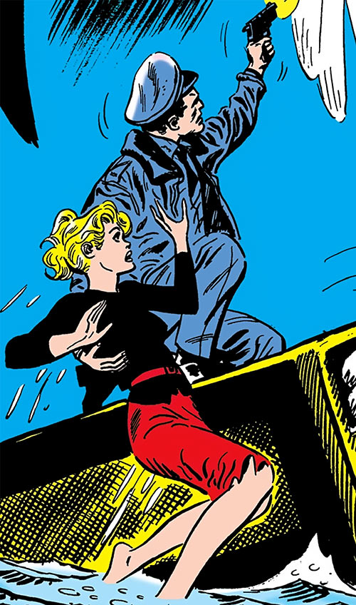 Karin Grace of the Suicide Squad (DC Comics) and Rick Flag sailing a matchbox