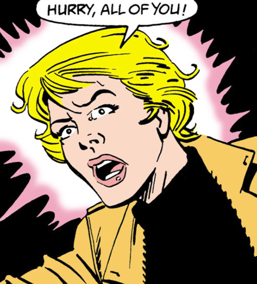Karin Grace of the Suicide Squad (DC Comics) yelling to hurry