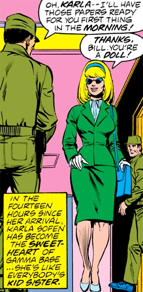 Karla Sofen (pre-Moonstone) (Marvel Comics) in a green suit