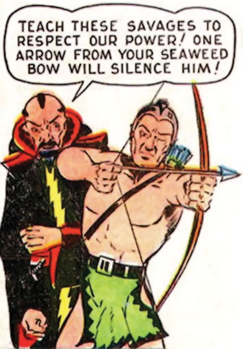 Karlak of Mu (Namora enemy) (Timely Marvel Comics) and a Muvian archer