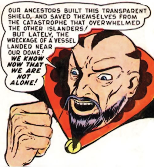 Karlak of Mu (Namora enemy) (Timely Marvel Comics) ranting face closeup