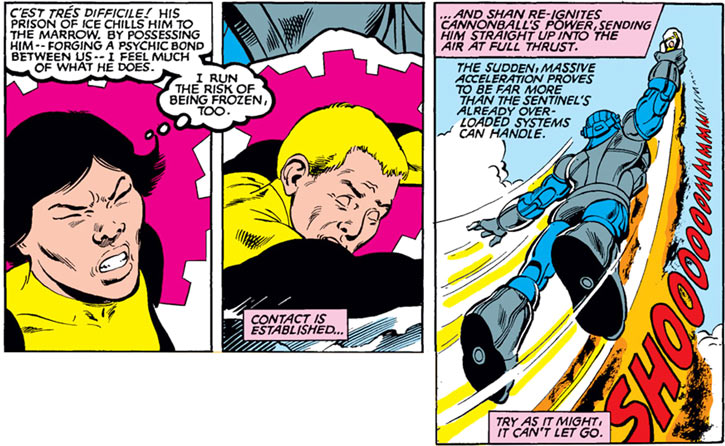 Karma of the New Mutants (Marvel Comics) possessing an unconscious Cannonball to thwart a Sentinel robot