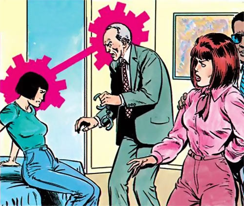 Karma of the New Mutants (Marvel Comics) (Classic era) and Moira MacTaggart under arrest