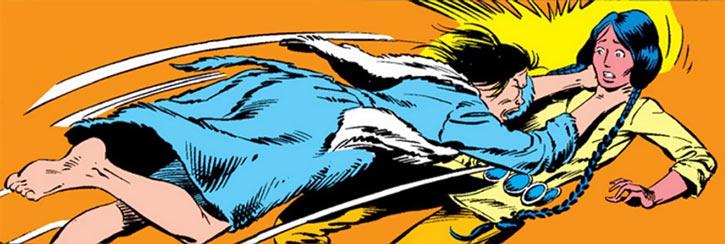 Karma of the New Mutants (Marvel Comics) strangling Danielle Moonstar
