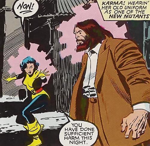 Karma of the New Mutants (Marvel Comics) (Classic era) possessing Roughouse