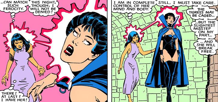 Karma of the New Mutants (Marvel Comics) possessing Tessa of the Hellfire Club