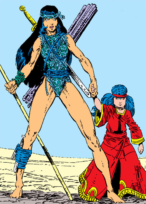 Karma of the New Mutants (Marvel Comics) (Classic era) in the Asgardian desert
